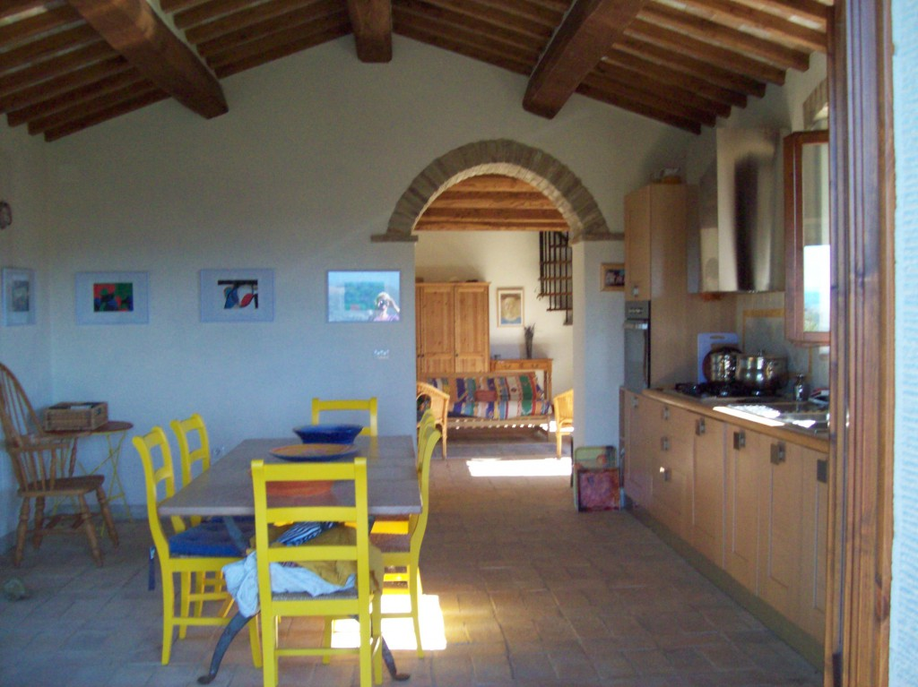 Looking through from the barn kitchen to the living area.