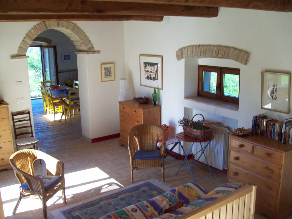 The spacious living area in the barn can easily convert into comfortable extra sleeping accommodation.