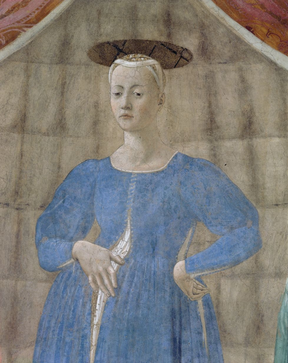 A detail of Piero della Francesca's Madonna del parto fresco, painted for Monterchi between 1455 and 1465 and now the centre of a Piero exhibition in the village.